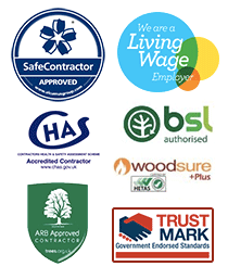 Living Wage Employer, SafeContractor Approved, CHAS approved, BSL approved, Woodsure +plus HETAS, ARB Approved Contractor, Trust Mark