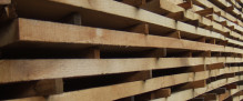 Hardwood sawn timber planks